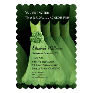 Bridesmaid Luncheon Brunch Green Dresses V03 Custom Announcements