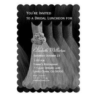 Bridesmaid Luncheon Brunch Silver Dresses V07 Custom Announcements