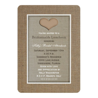 "Bridesmaid Luncheon Invitation -- Burlap Look 5"" X 7"" Invitation Card"