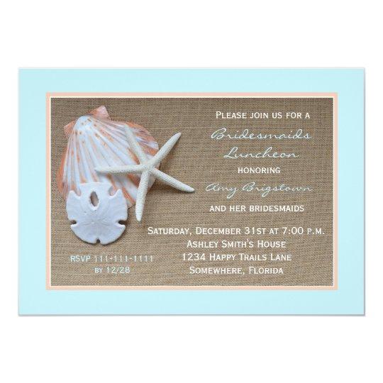 bridesmaid luncheon invitations beach theme zazzle com