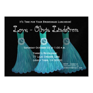 Bridesmaid Luncheon or Brunch Blue Dresses Card
