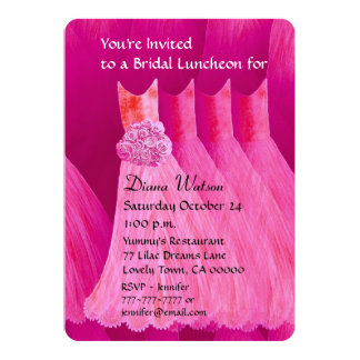 Bridesmaid Luncheon or Brunch Bright Pink V02J Personalized Invites
