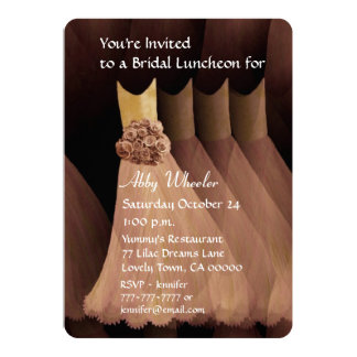 Bridesmaid Luncheon or Brunch Gold Dresses V01G Personalized Invitations