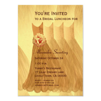 Bridesmaid Luncheon or Brunch Gold Dresses V08 Card