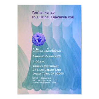 Bridesmaid Luncheon or Brunch Green Blue Dresses Card