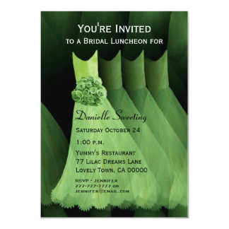 Bridesmaid Luncheon or Brunch Green Dresses V03 Invite