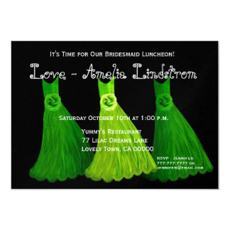 Bridesmaid Luncheon or Brunch Lime Green Dresses 2 Card