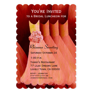 Bridesmaid Luncheon or Brunch Peach Dresses V20 Invitations
