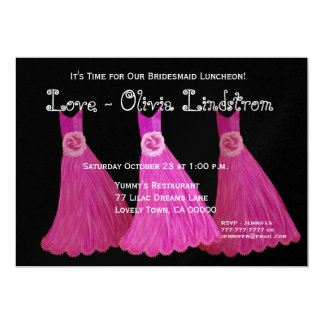 Bridesmaid Luncheon or Brunch Pink Dresses Card