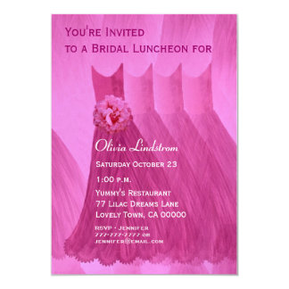 Bridesmaid Luncheon or Brunch Pink Dresses Custom Announcement