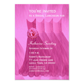 Bridesmaid Luncheon or Brunch Pink Dresses V07 Card