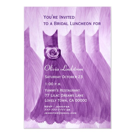 Bridesmaid Luncheon or Brunch Purple Dresses Card