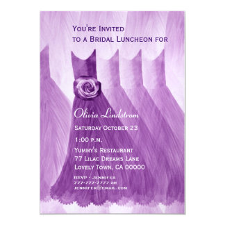 Bridesmaid Luncheon or Brunch Purple Dresses Custom Invitations