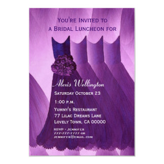 Bridesmaid Luncheon or Brunch Purple Dresses Personalized Announcement