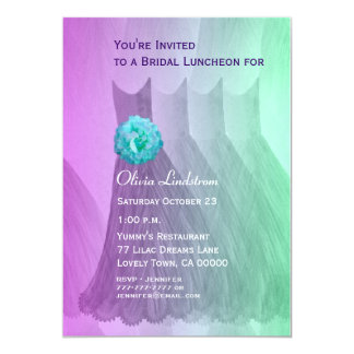 Bridesmaid Luncheon or Brunch Purple Green Dresses Custom Invites
