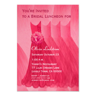 Bridesmaid Luncheon or Brunch Red Dresses Personalized Invite