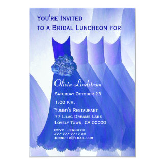 Bridesmaid Luncheon or Brunch Royal Blue Dresses Personalized Invitation