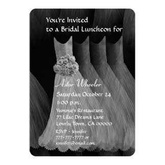 Bridesmaid Luncheon or Brunch Silver Dresses V01H Custom Invitations