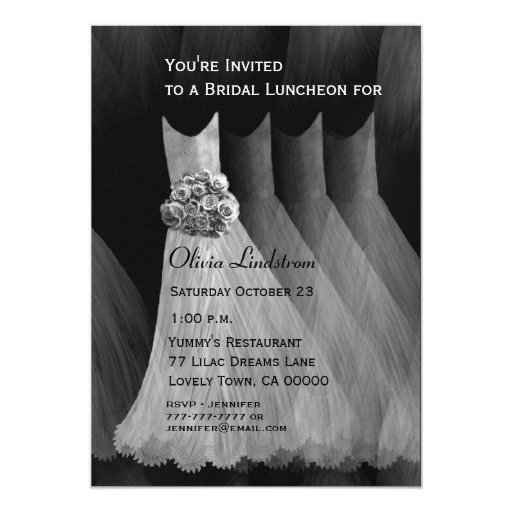 Bridesmaid Luncheon or Brunch Silver Gray Dresses 5x7 Paper Invitation Card