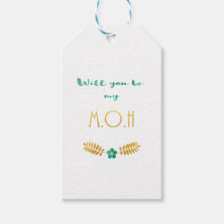 Bridesmaid maid bride honor honour green gold gift tags