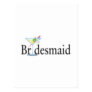 Bridesmaid Martini Black Postcard