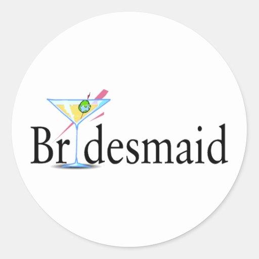 Bridesmaid Martini Black Round Sticker