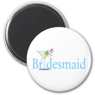 Bridesmaid Martini Blue 2 Inch Round Magnet