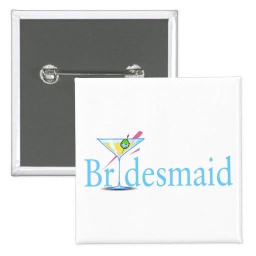 Bridesmaid Martini Blue 2 Inch Square Button