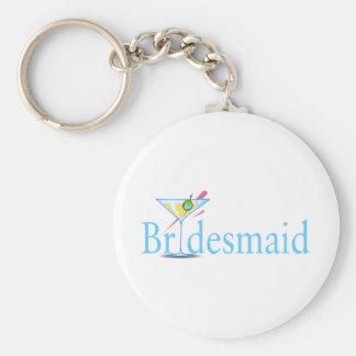 Bridesmaid Martini Blue Basic Round Button Keychain
