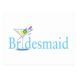 Bridesmaid Martini Blue Postcard