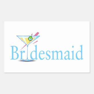 Bridesmaid Martini Blue Round Stickers