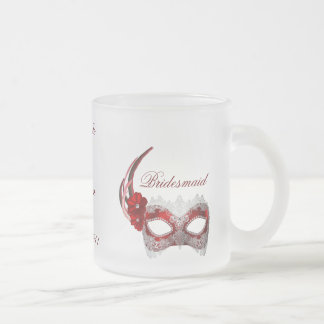"""Bridesmaid"" - Masquerade Mask/Couple's Names Frosted Glass Coffee Mug"