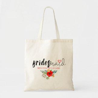 Bridesmaid Modern Black Text Design Floral Accent Tote Bag