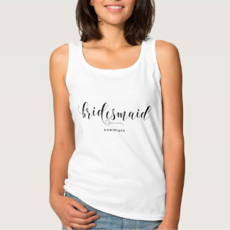 Bridesmaid Modern Calligraphy Personalized Tank Top