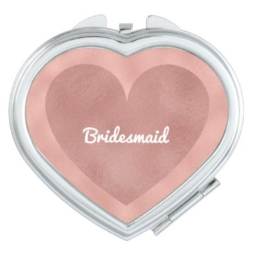 Bride Themed Bridesmaid Modern Wedding Rose Gold Heart Girly Vanity Mirror