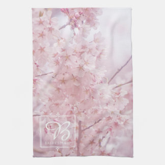 Bridesmaid Monogram Pale Pink Cherry Blossoms Hand Towels