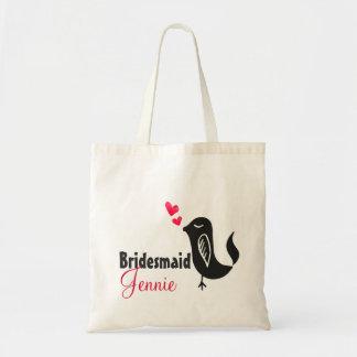 Bridesmaid Name Bird Red Hearts Custom Gift Tote Bag