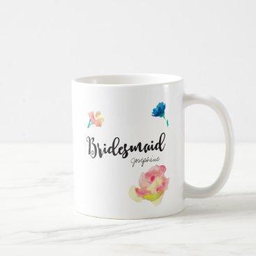 Beach Themed Bridesmaid, Name, flowers Coffee Mug