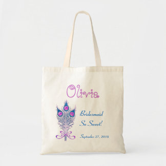 BRIDESMAID or ANY Wedding Role PEACOCK FEATHERS Budget Tote Bag