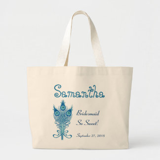 BRIDESMAID or ANY Wedding Role PEACOCK FEATHERS V7 Jumbo Tote Bag