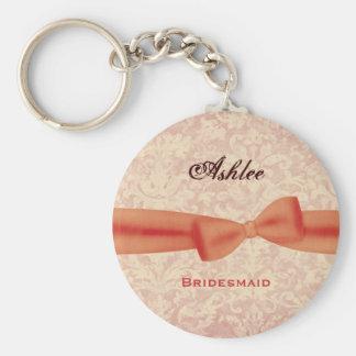 Bridesmaid Orange Bow Ecru Damask E009 Keychain