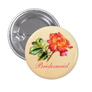 Bridesmaid orange tea rose wedding pin / button