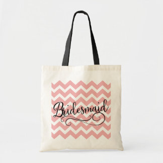 Bridesmaid Pastel Pink Chevron Tote Bag