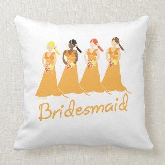 Bridesmaid Peach Dresses Throw Pillows