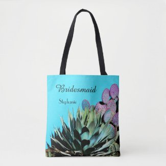 Bridesmaid Personalized Tote, Agave & Cactus
