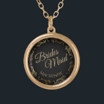 "Bridesmaid Personalized Wedding Necklace Gift<br><div class=""desc"">This beautiful gold plated necklace is designed as a wedding gift or favor for bridesmaids. Designed to coordinate with our Gold Foil Elegant Wedding Suite, it features a gold faux foil flourish border with the text ""Brides Maid"" as well as a place to enter her name. Beautiful way to thank...</div>"