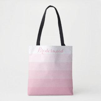 Bridesmaid Personalized White Ombre Stripe Pink Tote Bag