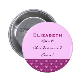 Bridesmaid Petite Pink Stars Custom Name 2 Inch Round Button