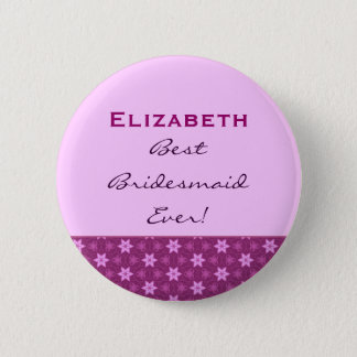 Bridesmaid Petite Pink Stars Custom Name Button