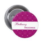 BRIDESMAID Pin Button Magenta Pattern V002